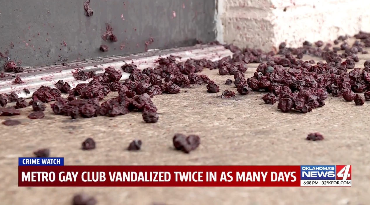 Blueberries were strewn in front of the entrance to a gay bar in Oklahoma.