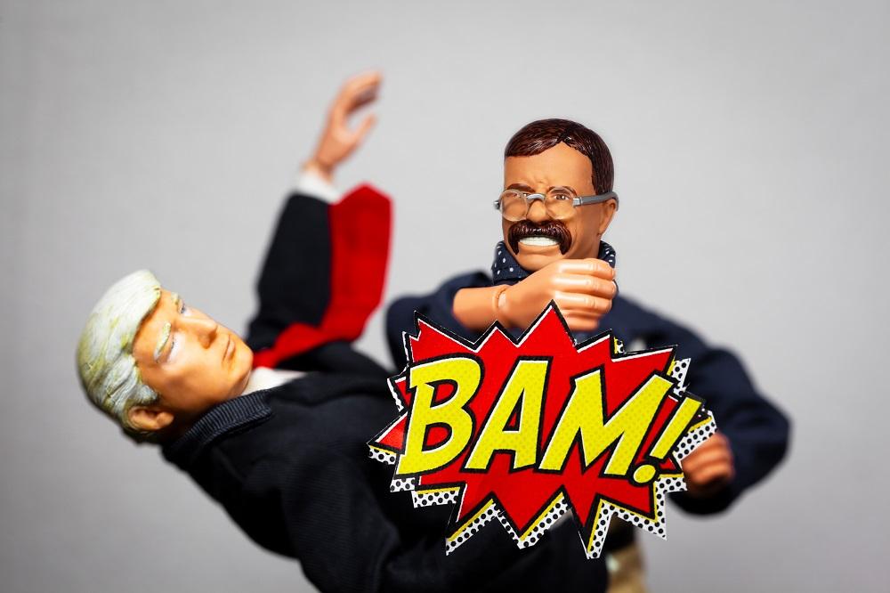 Caricature of Theodore Roosevelt punching Donald Trump