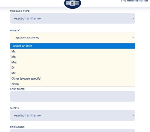 White House Contact Form's drop menu for prefix