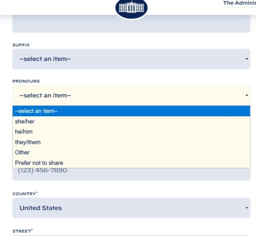 White House Contact Form's drop menu for pronouns