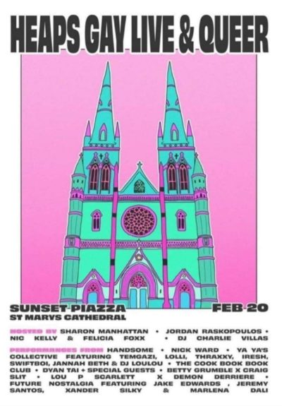 Heaps Gay flyer with the church