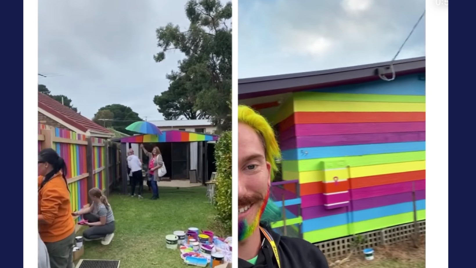 Neighbors rallied & helped a gay man paint his house rainbow colors after death threats