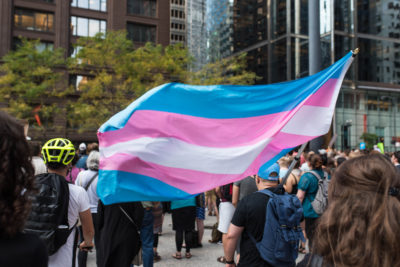 The trans flag at an August 21, 2017 protest
