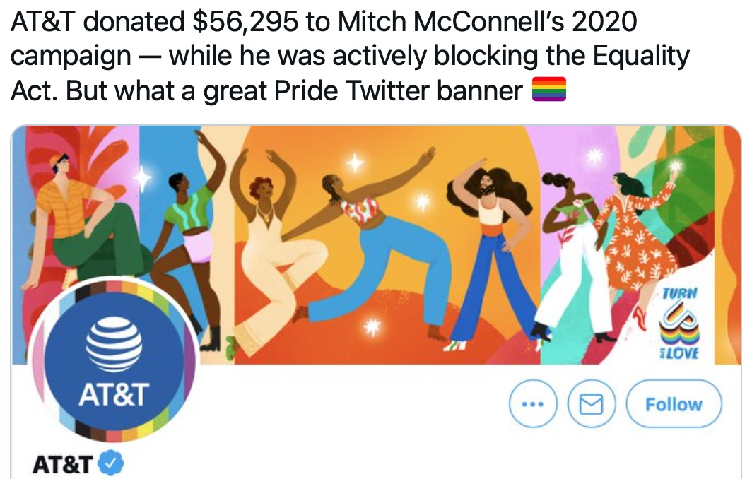 "Congresswoman is shredding companies celebrating ""Pride"" while supporting anti-LGBTQ politicians"