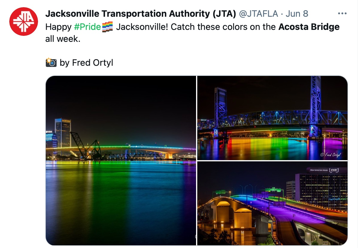 Florida state officials are blocking cities from lighting local bridges in rainbow colors for Pride