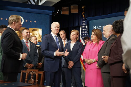 President Joe Biden speaking to congressional LGBTQ Equality Caucus members and LGBTQ community advocates in the South Court Auditorium after signing H.R. 49 declaring the Pulse Nightclub as a national monument.