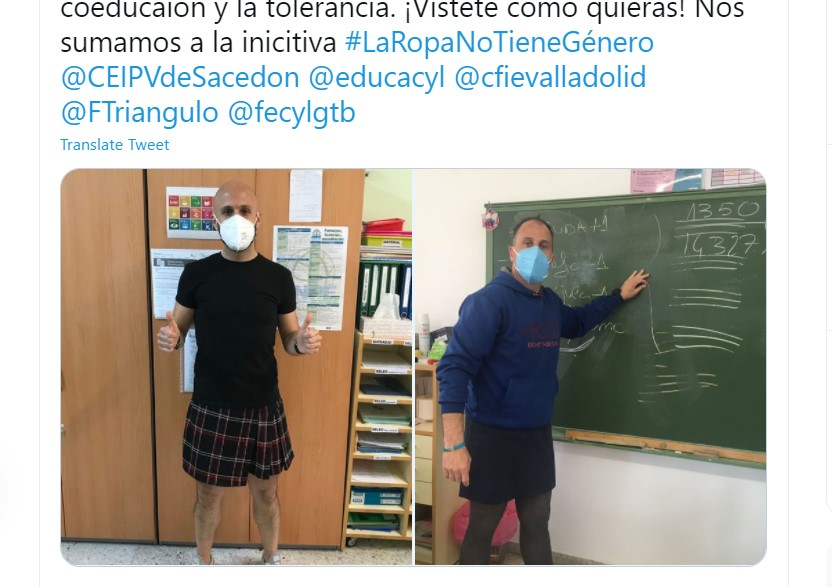A school sent a boy to a psychologist for wearing a skirt so male teachers wore them in solidarity