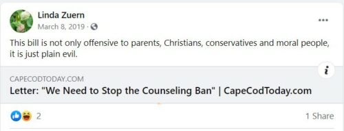 Facebook post from Linda Zuern opposing conversion therapy ban