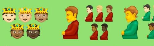 Person with crown, Pregnant man, and Pregnant person proposed emoji