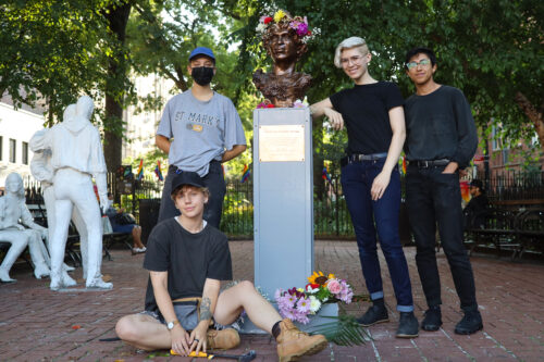 Activists and artists unveil the new bust of Marsha P. Johnson in Christopher Park.