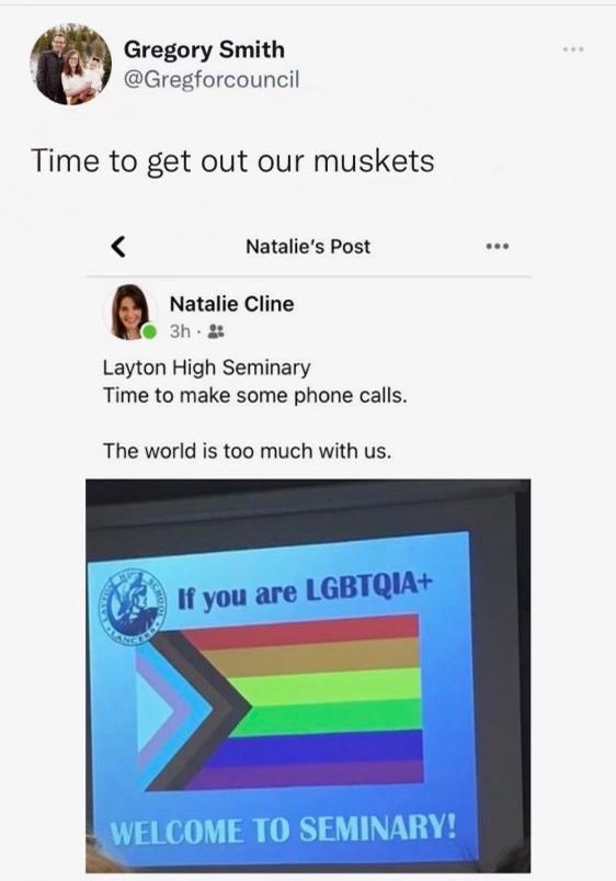 Gregory Smith, Layton High Seminary, muskets, LGBTQ, Equality Utah