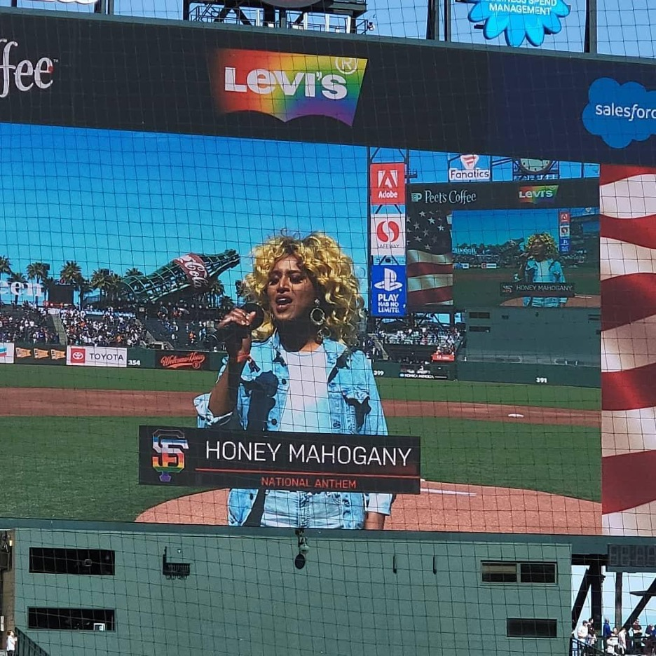 Honey Mahogany performing the National Anthem at Oracle Park before the Giants' annual Pride night game on June 5, 2020.