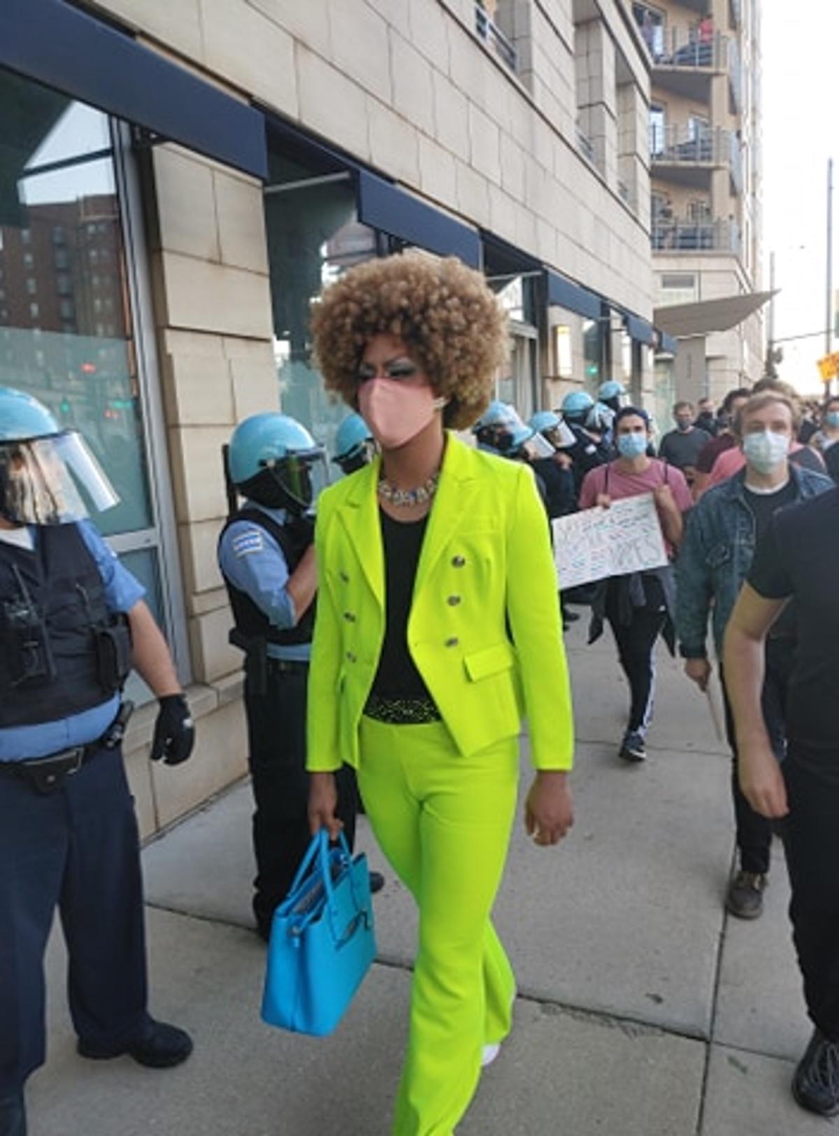 Jo MaMa walking in a Black Lives Matter demonstration on June 1, 2020.