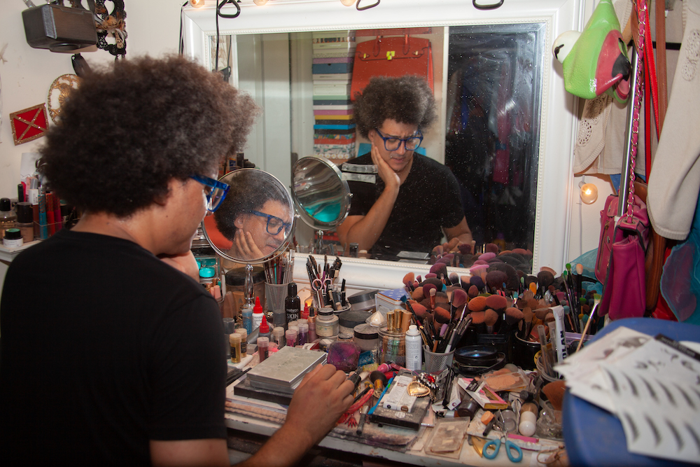 Jo MaMa at their makeup station at their home in Chicago's Edgewater neighborhood.