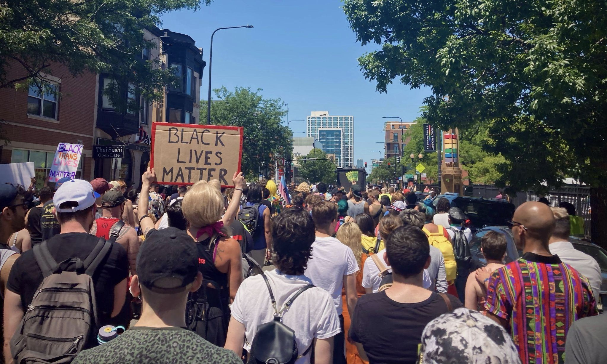 Demonstrators at the 2020 Drag March for Change.