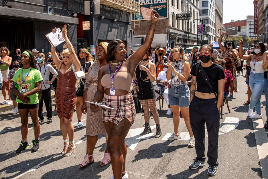 Revelers at the Riot Party, drag queen as activism