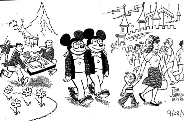 An editorial cartoon poked fun of Disneyland's policy to break up same-sex couples dancing together.