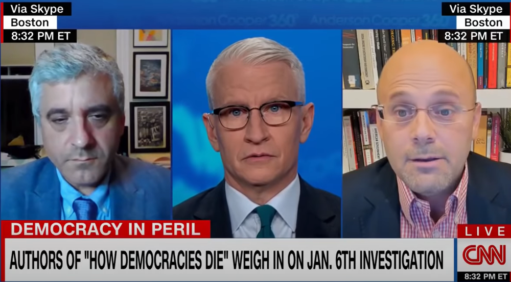 """Anderson Cooper stunned by Harvard professors' """"terrifying"""" prediction for American democracy"""